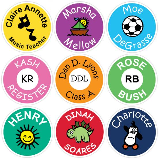 Round Stick on Name Labels