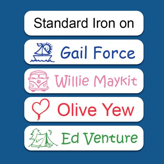 Standard Iron on  Name Labels